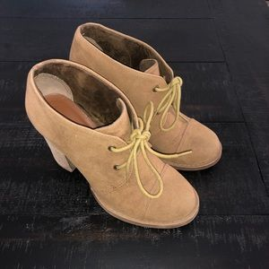 Chinese Laundry Mustard Block Heel Lace-up Booties
